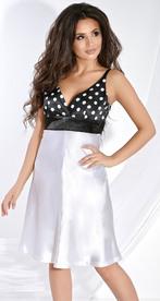 Платье № 652 белый горох на черном