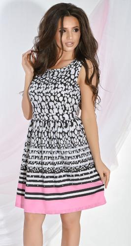 Платье № 13452N черно-белый узор и розовый (розница 532 грн.)