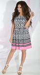 Платье № 13452 черно-белый узор и розовый