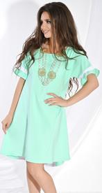 Платье № 3677N лагуна и белый (розница 520 грн./535 грн.)