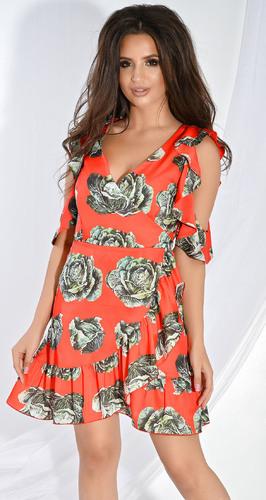 Платье № 3383N Dolche зеленый на красном (розница 620 грн.)