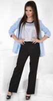 Модные черные брюки № 3585 с высокой талией