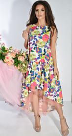 Платье № 3689 цветы на белом