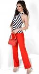Полосатая блуза-Американка № 3567L черно-белая