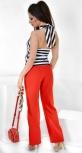 Модные красные брюки № 3585 с высокой талией