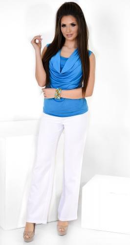 Модные белые брюки № 3585L с высокой талией