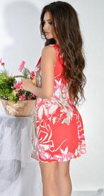 Платье № 12633n цветы на красном