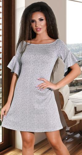 Серебристое коктейльное платье