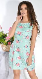 Платье № 12633n цветы на зеленом