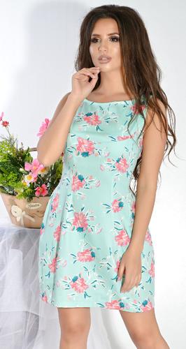 Платье № 12633nN цветы на зеленом (розница 505 грн.)