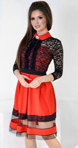 Платье № 35353 красное