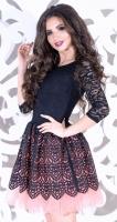 Платье № 35302S черно-розовое