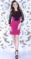 Платье № 3553Nr фуксия и черное