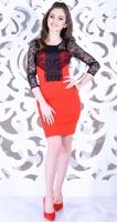 Платье № 3553Nr красно-черное