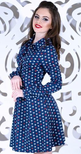 Платье № 1494N лапки на синем (розница 655 грн.)