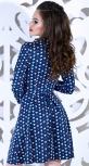 Платье № 1494 лапки на синем