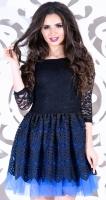 Платье № 35302S черно-синее