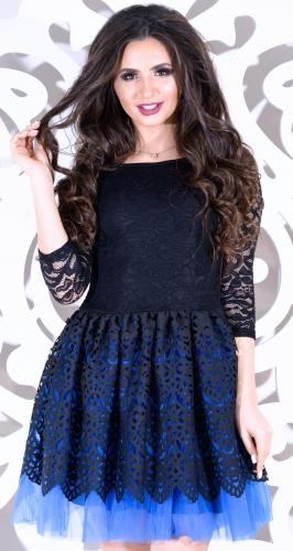 Пышное вечернее черно-синее платье