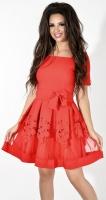 Красное  платье с поясом № 33123