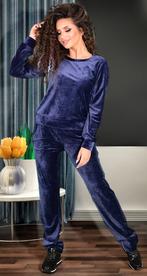 Синий бархатистый спортивный костюм