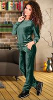 Зеленый бархатистый спортивный костюм