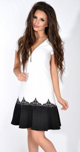 Белое платье с черным низом № 1713