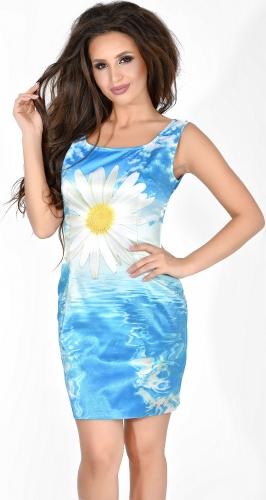 Яркое летнее платье № 820 ,голубое