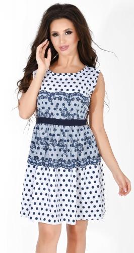 Платье № 1345N синий горох и кружево на белом (розница 527 грн.)