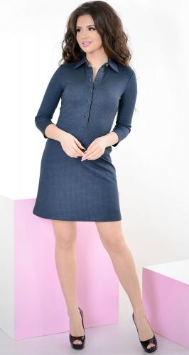 Платье № 3205S черная клетка на синем (розница 492 грн./512 грн.)
