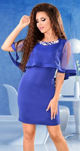 Коктейльное платье цвета электрик с жемчужинами