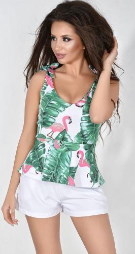 Топ № 3687N розовый фламинго и зеленые листья (розница 510 грн.)