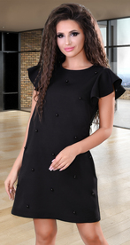 Черное коктейльное платье с черными жемчужинами