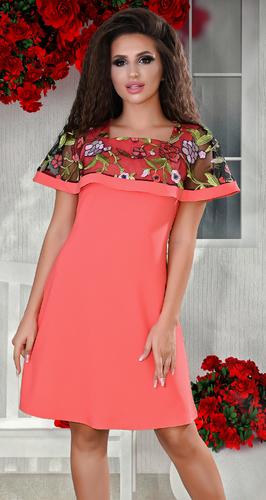 Коралловое платье с цветной вышивкой