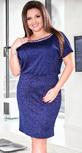 Синее коктейльное платье с кристаллами