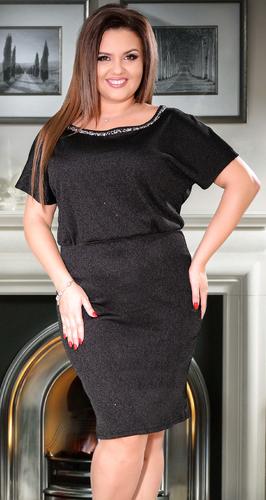 Черное коктейльное платье с кристаллами