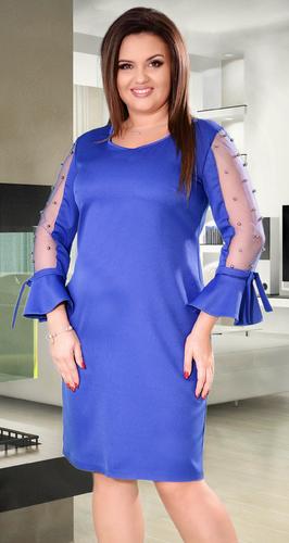 Коктейльное платье цвета электрик с жемчугом