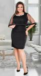 Черное коктейльное платье с жемчужинами