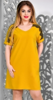 Модное платье № 1774 горчица