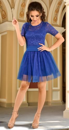 Изысканное вечернее платье цвета электрик