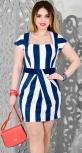 Платье № 3105S сине-белая полоска