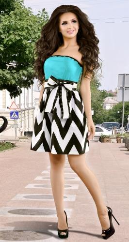 Платье № 13052N черно-белый зигзаг и минт (розница 483 грн.)