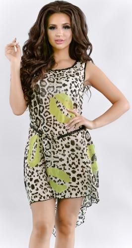 Леопардовое шифоновое платье-туника