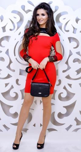 Шикарное красное вечернее платье