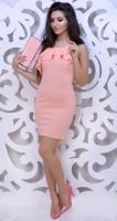 Красивое узкое платье № 3597, персик
