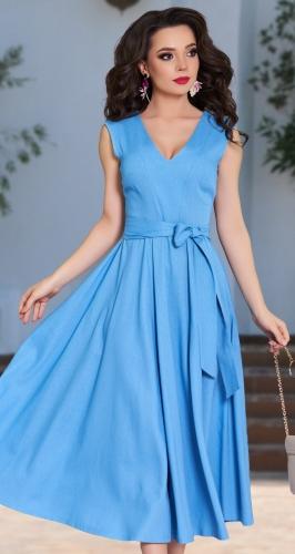 Небесно-голубое платье из льна № 4315