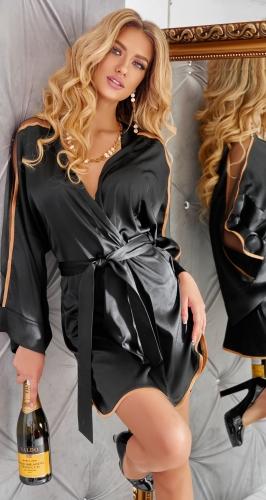 Шелковый халатик с прозрачными вставками
