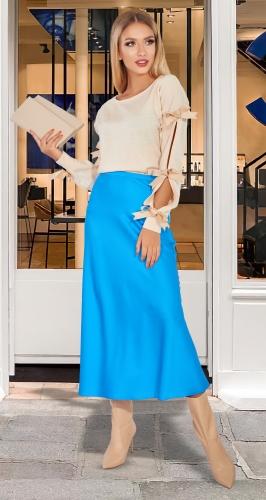 Голубая шелковая юбка № 4507