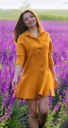Свободное платье- рубашка № 4333
