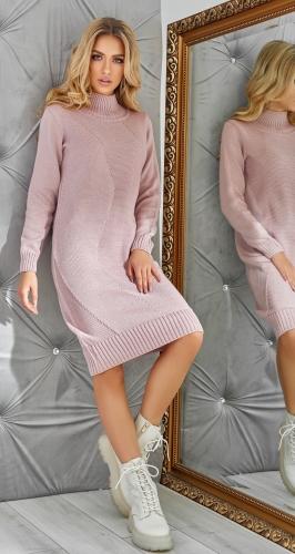Полу-облегающее вязаное платье с декором