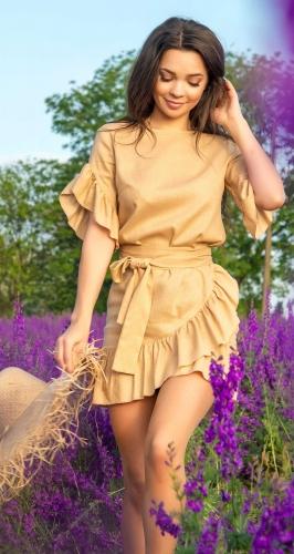 Льняное платье с поясом № 4232